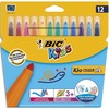 BIC Pochette 12 feutres de coloriage KID COULEUR BABY. Pointe extra-large. Coloris assortis